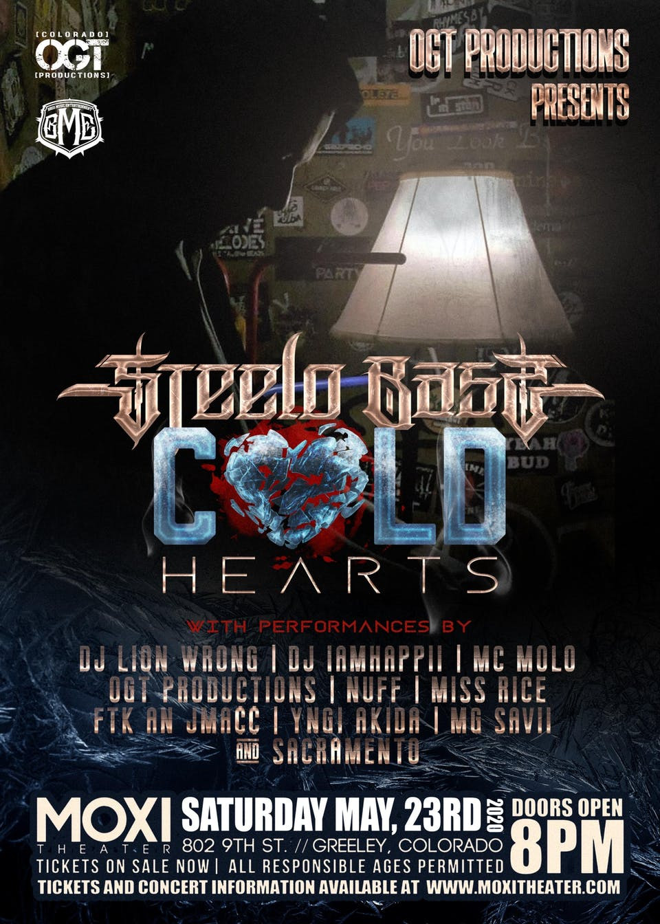 """Postponed: Steelo Bass """"Cold Hearts"""" w/ OGT Productions"""