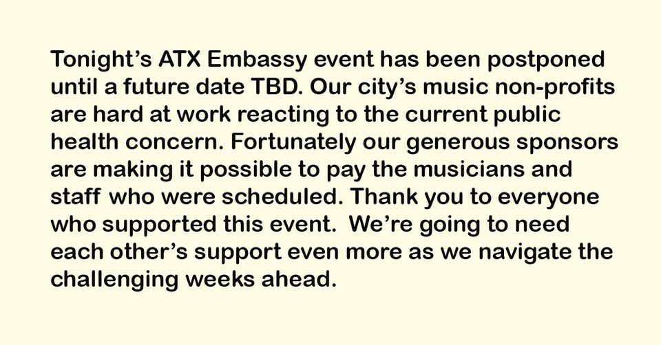 POSTPONED - ATX Embassy