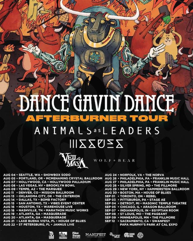 DANCE GAVIN DANCE, ANIMALS AS LEADERS, ISSUES, VEIL OF MAYA, WOLF & BEAR